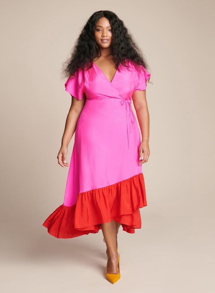 Plus size pink and red Akari Colorblock Wrap Dress