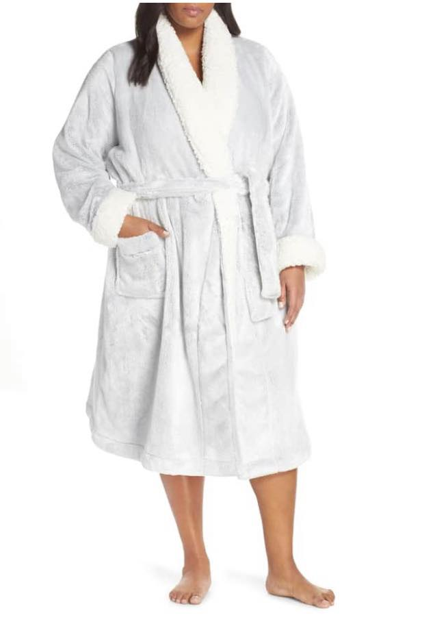 light grey plus size bath robe