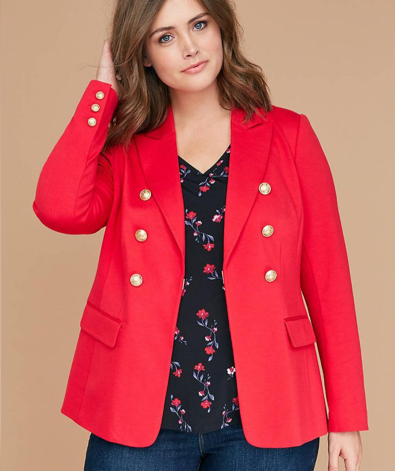 red plus size blazer