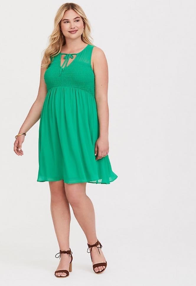 GREEN Plus Size CHIFFON SMOCK FRONT TANK DRESS