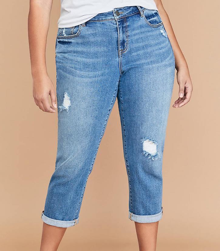 plus size girlfriend crop jeans