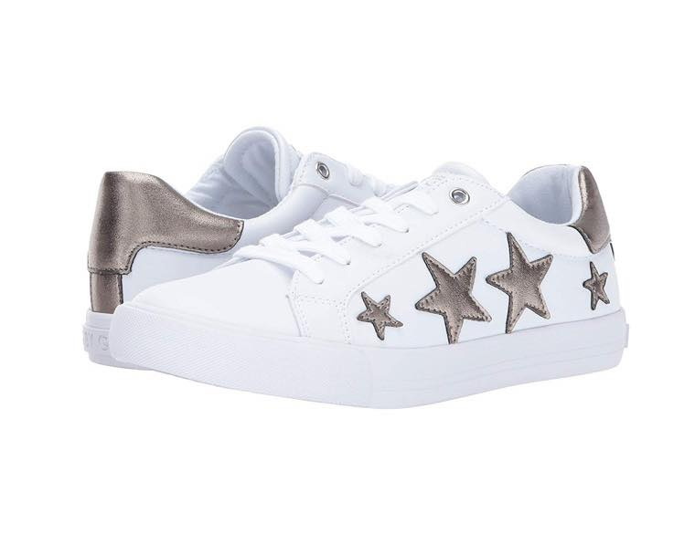 white and gold star sneakers