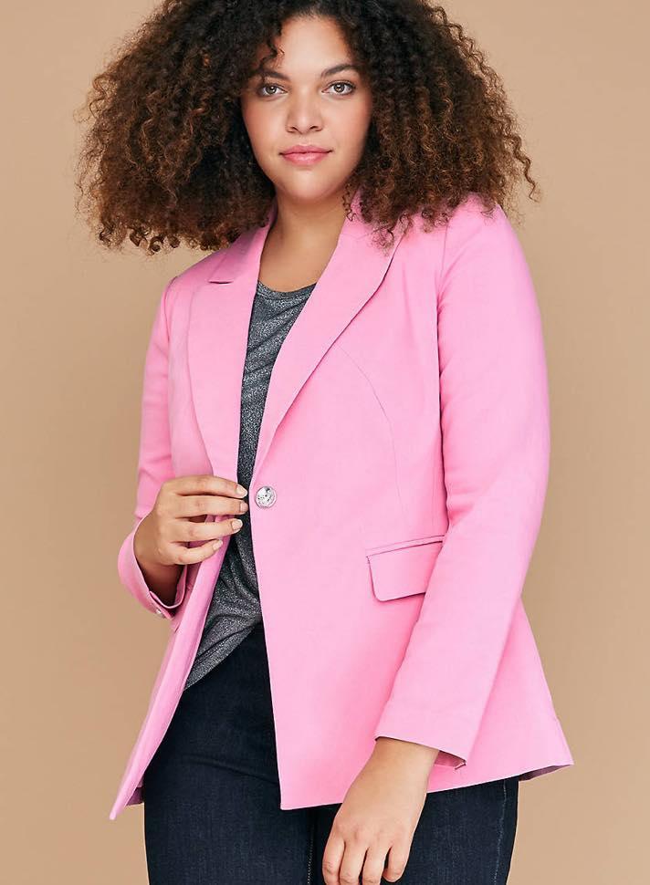 pink plus size blazer
