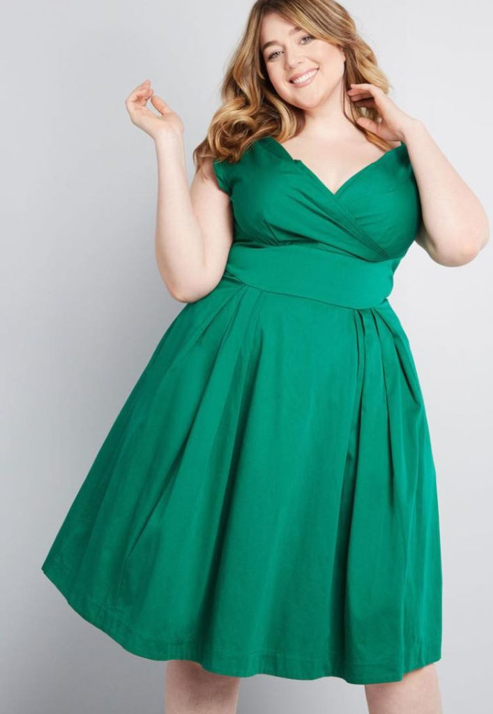 Green Plus size Keener Postures Midi Dress