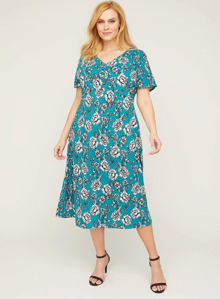 teal print floral fit and flare plus size dress