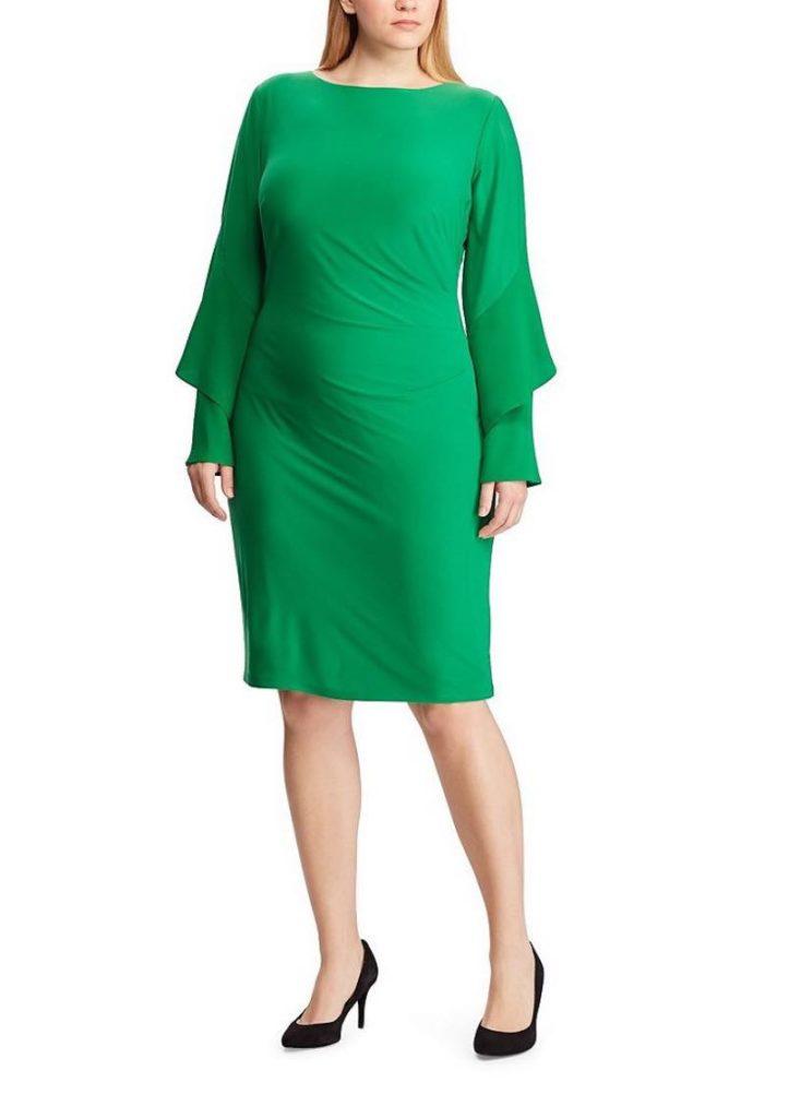 Green Ralph Lauren Plus Size Tiered Ruffle Sleeve Jersey Sheath Dress