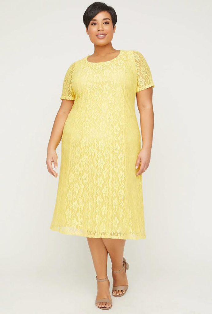lemon color lace fit and flare plus size dress