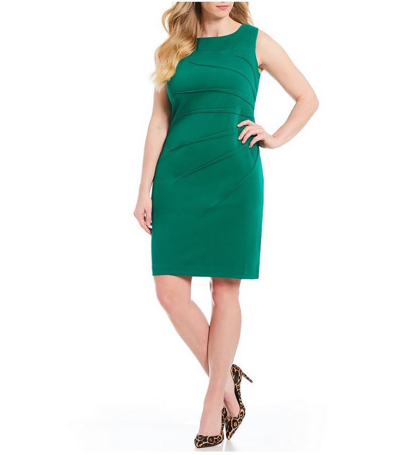 Green Plus Size Calvin Klein Sideburst Sheath Dress