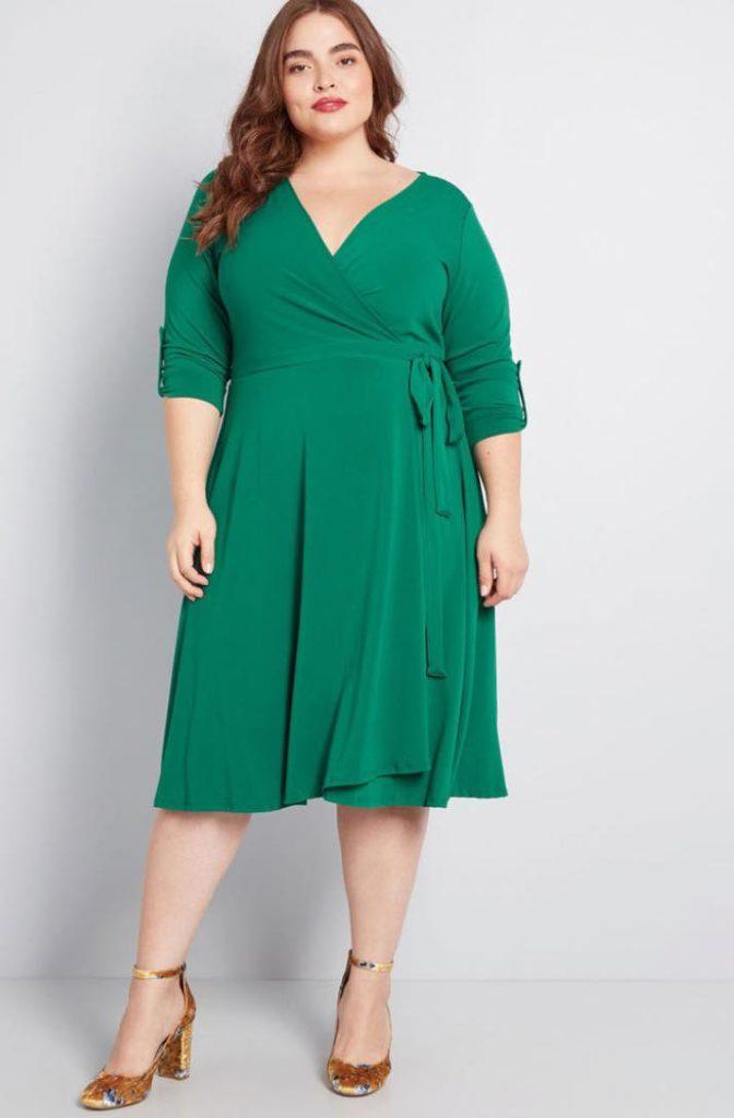 green plus size wrap dress