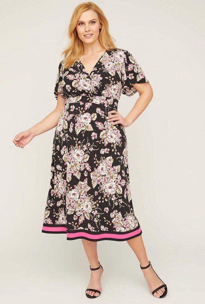 floral print faux wrap fit & flare dress