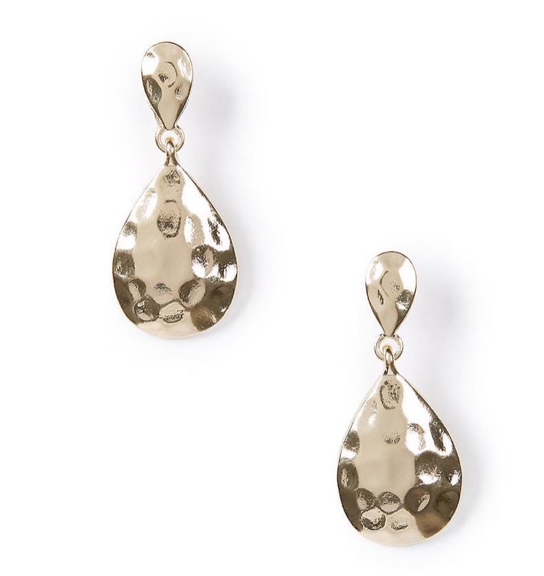 Hammered Teardrop Drop Earrings