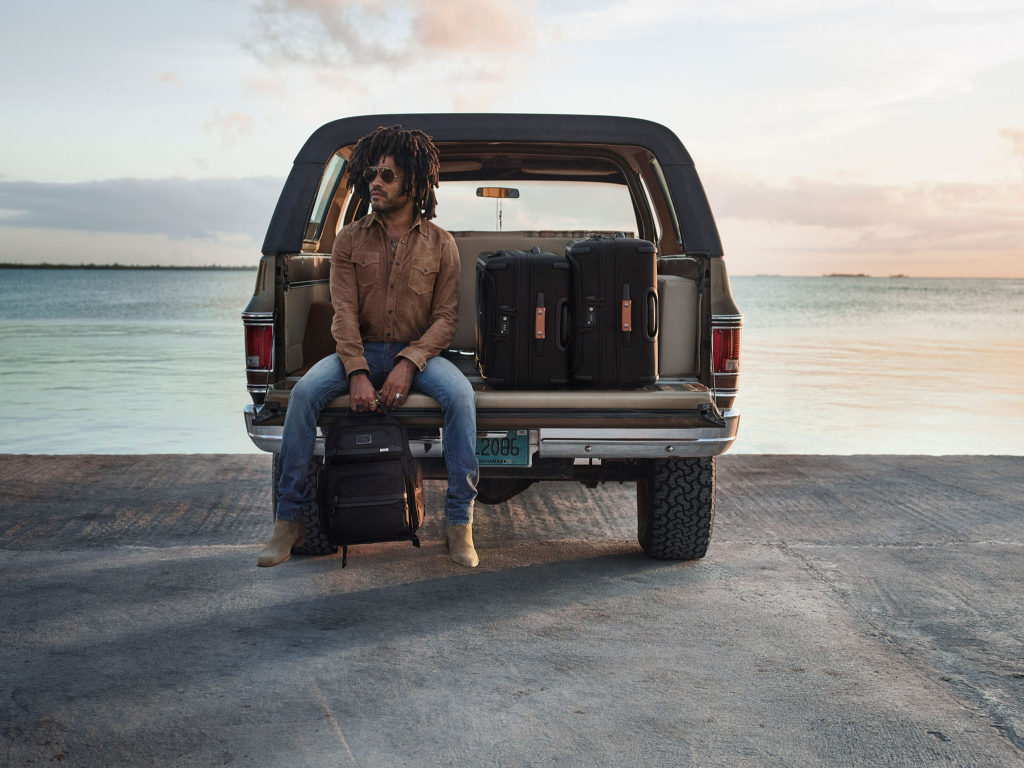 Lenny Kravitz is featured in Tumi campaign.