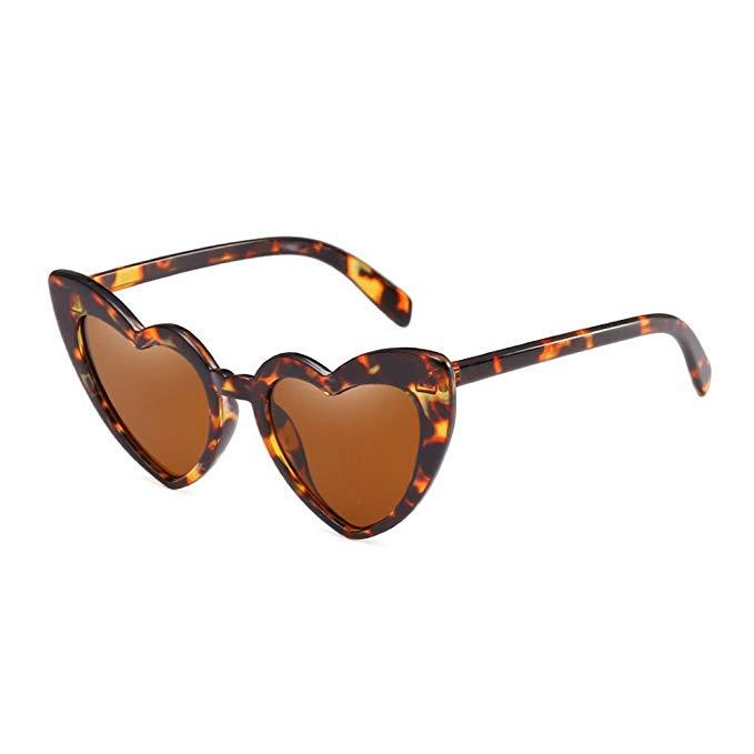 brown heart shaped sunglasses