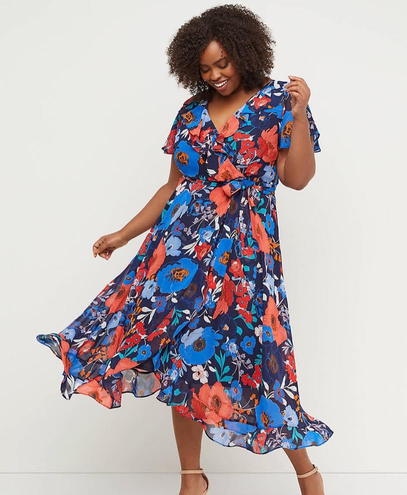 plus size faux wrap chiffon midi dress