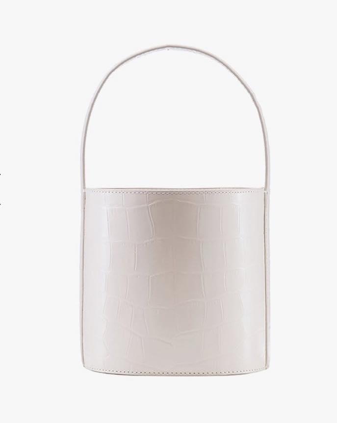 white bissett bucket bag