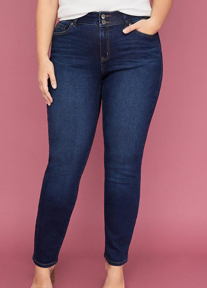 Plus Size Tighter Tummy Essential Stretch Straight Jean in Dark Wash