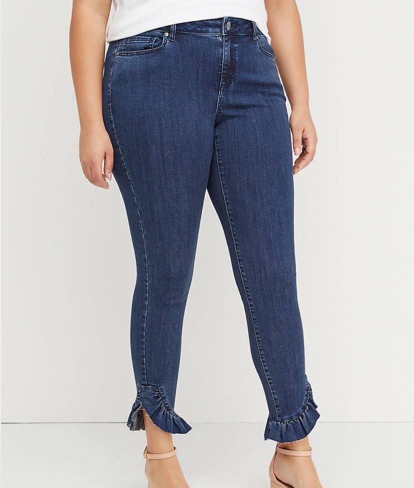 ize Plus SSuper Stretch Skinny Jean - Dark Wash Ruffle Hem