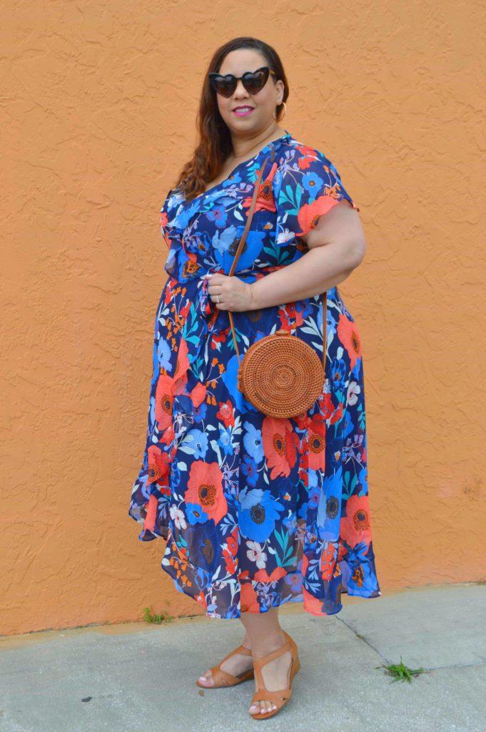 plus size chiffon midi dress