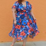 Look #11 of 2019: Plus Size Faux Wrap Chiffon Midi Dress
