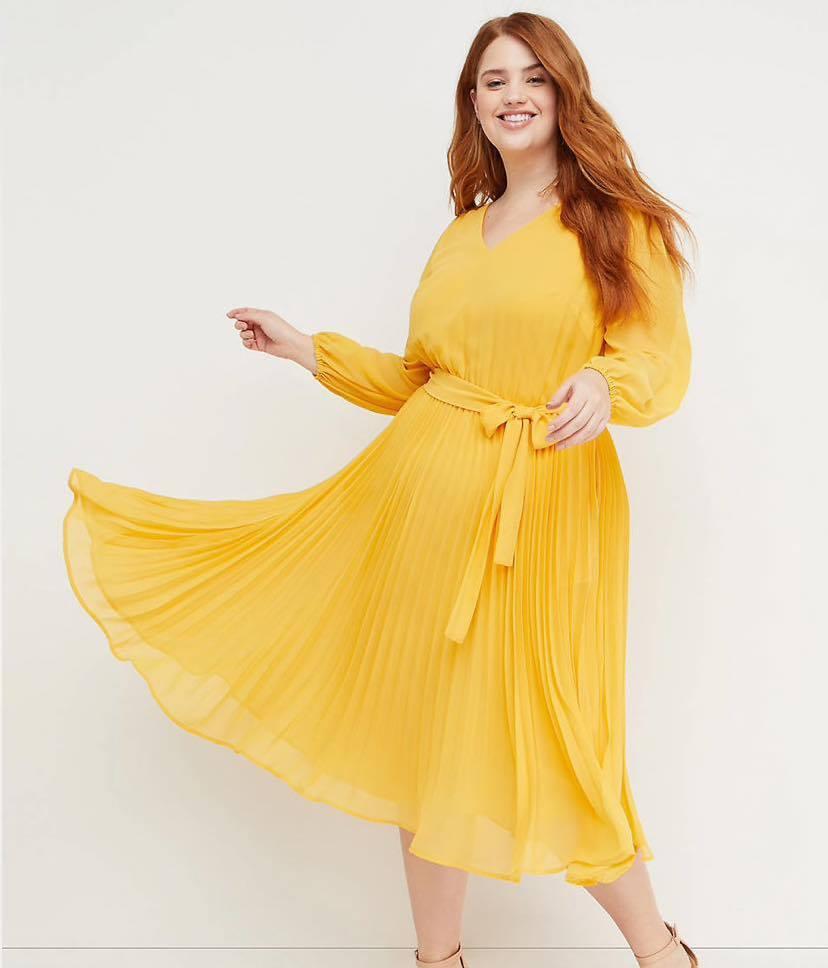 plus size yellow pleated midi dress