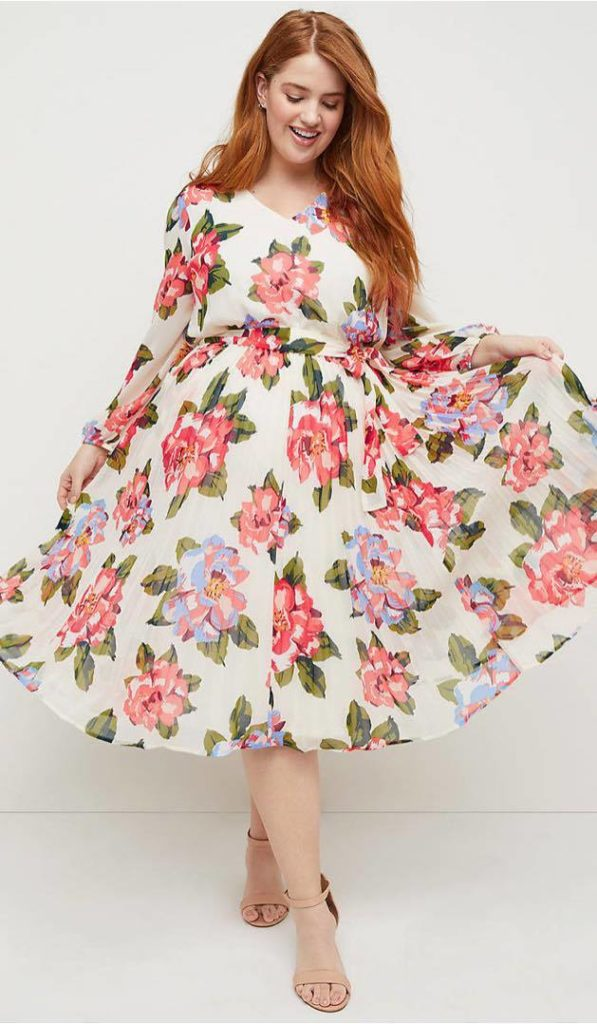 Beauticurve x Lane Bryant Floral Pleated Midi Dress