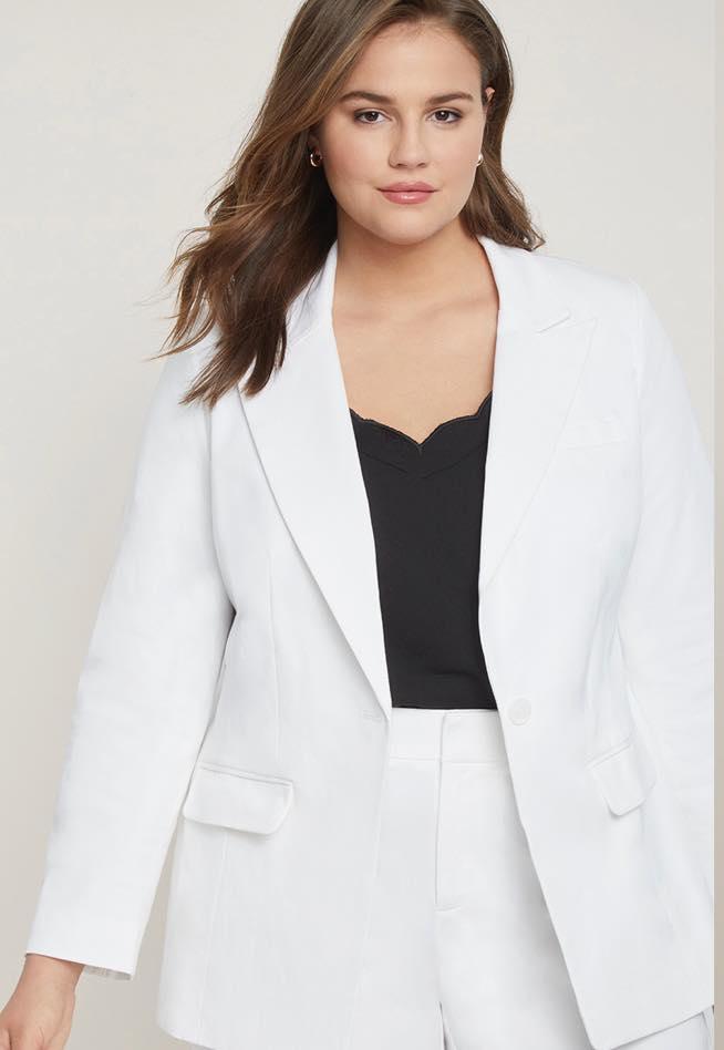 white plus size jacket