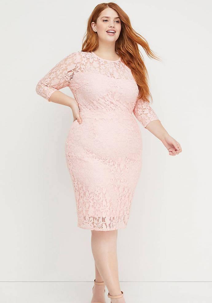 BeautiCurve x Lane Bryant Collection pink lace dress