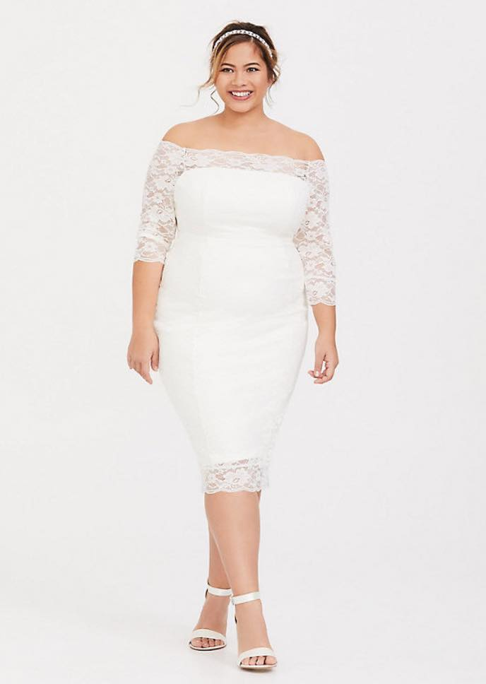 IVORY LACE OFF SHOULDER BODYCON DRESS