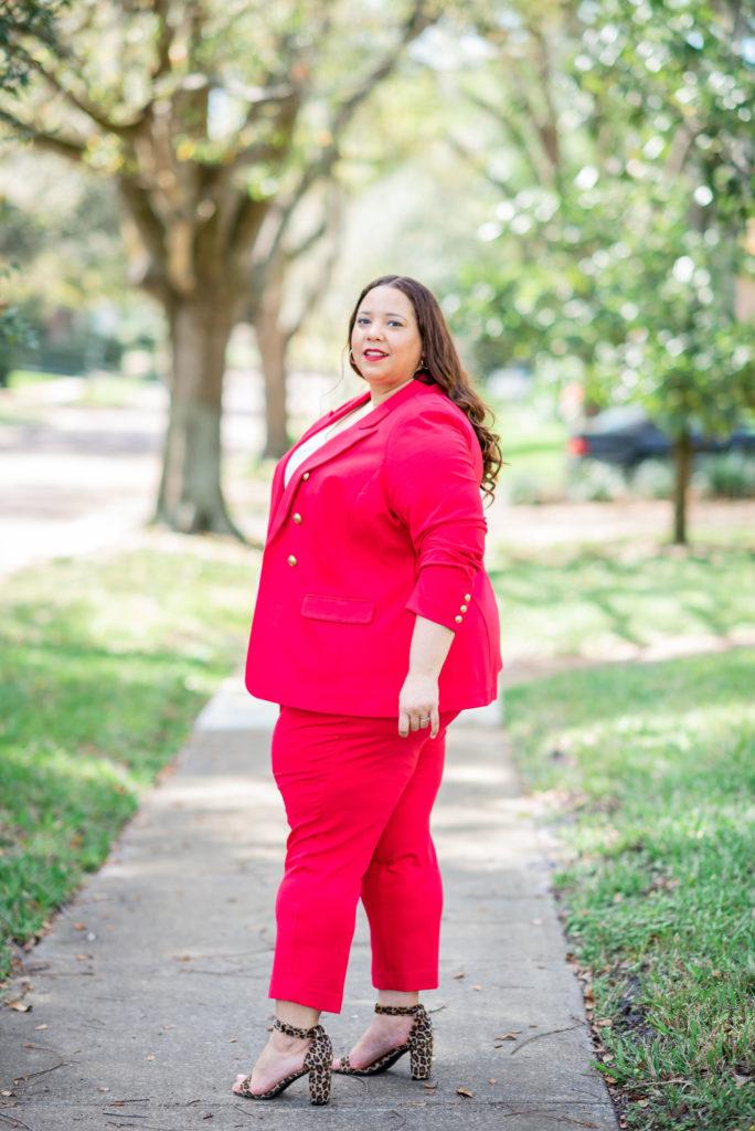 red plus size suit