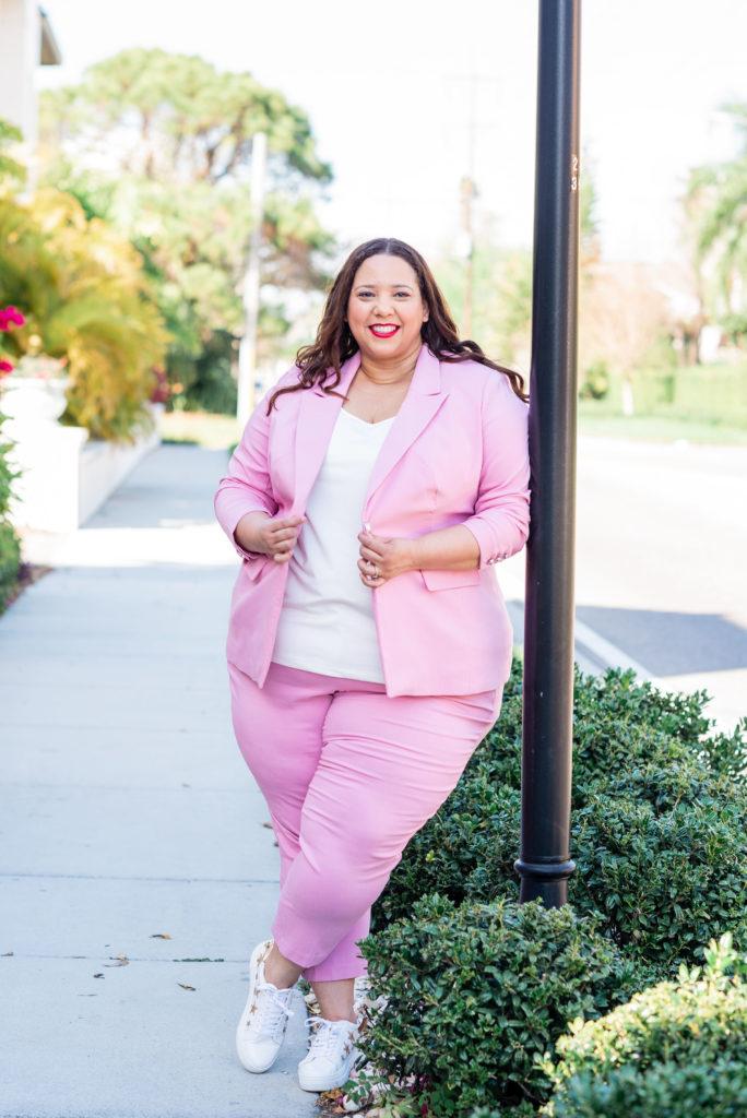pink plus size suit