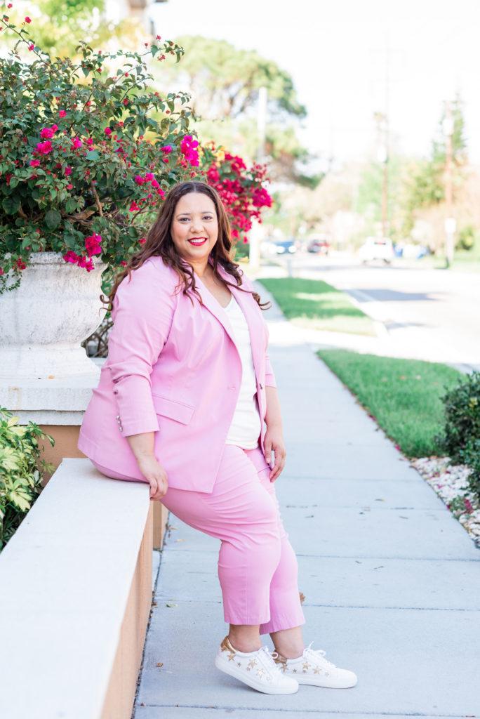 plus size blogger farrah estrella pink plus size suit
