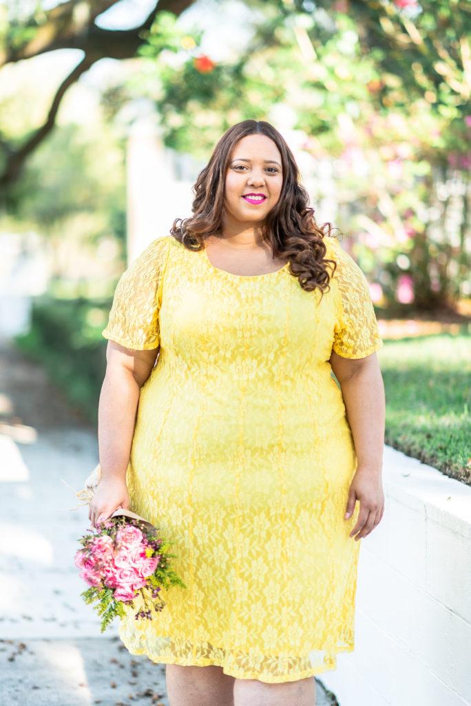 yellow lace plus size dress