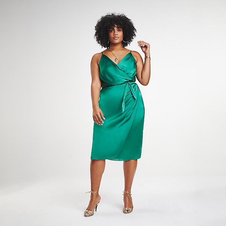Green ZENDAYA CURVE SATIN WRAP DRESS