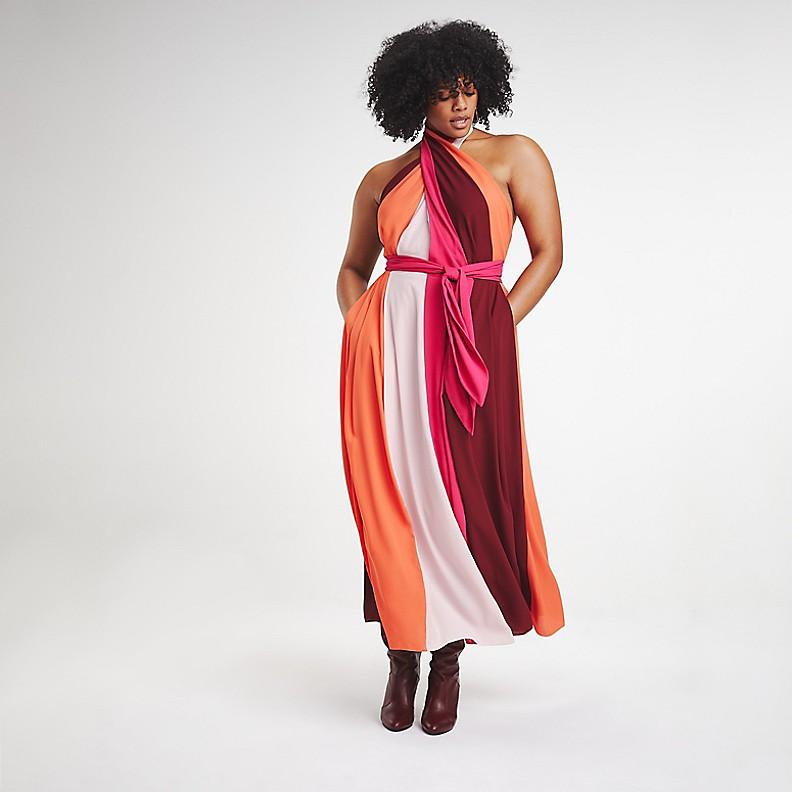 ZENDAYA CURVE CROSS FRONT DRESS