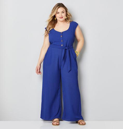 blue plus size jumpsuit