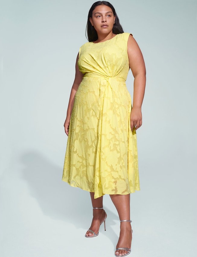 joson wu x eloquii plus size yellow pleated detail midi dress