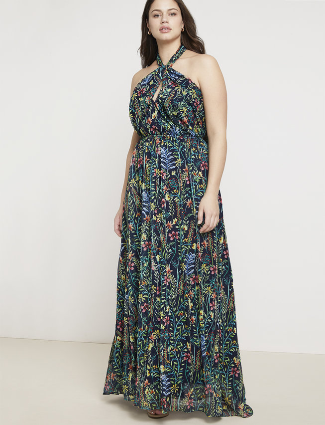 plus size halter maxi dress