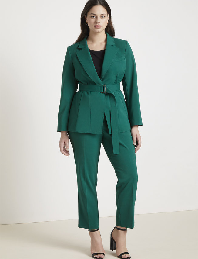green plus size suit