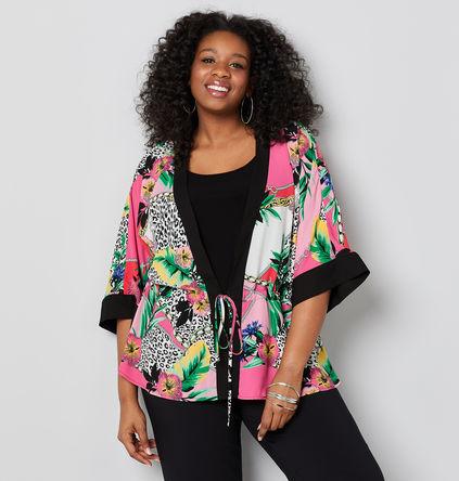 plus size retro print 2fer kimono