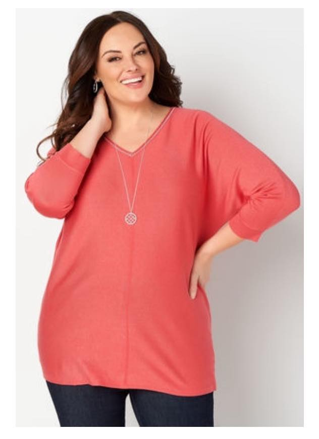 vneck plus size coral sweater