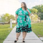 Look # 17 Of 2019: Plus Size Green & Black Floral Wrap Midi Dress