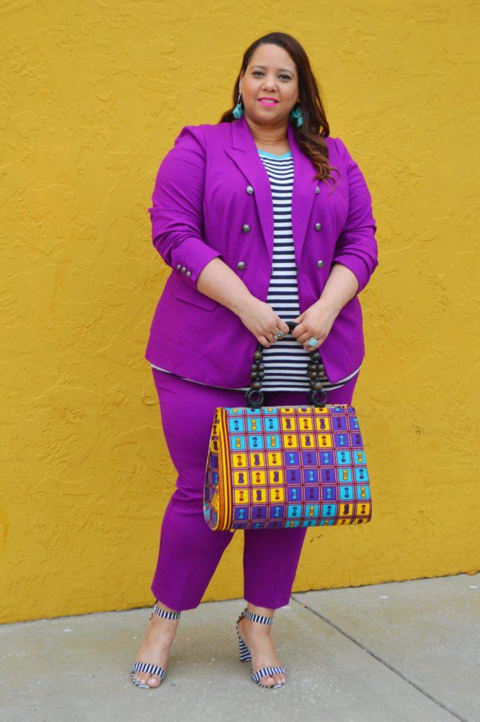 purple plus size suit
