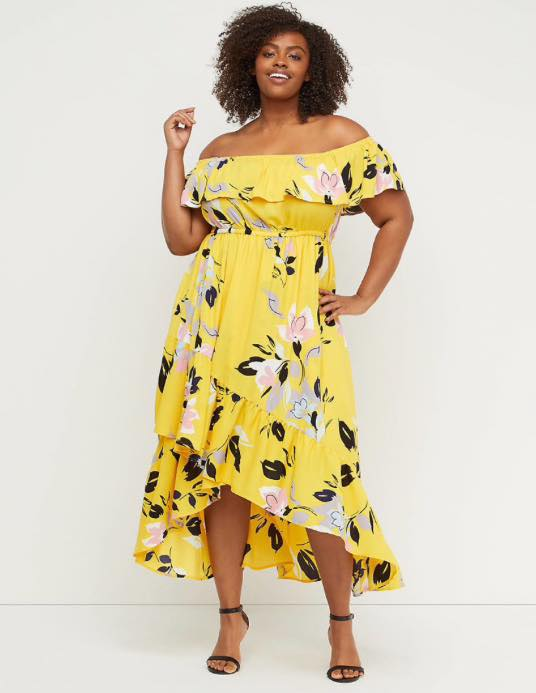 plus size yellow floral Off-The-Shoulder Ruffle Maxi Dress