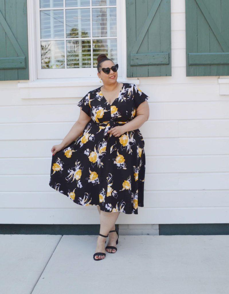 black and yellow plus size dress