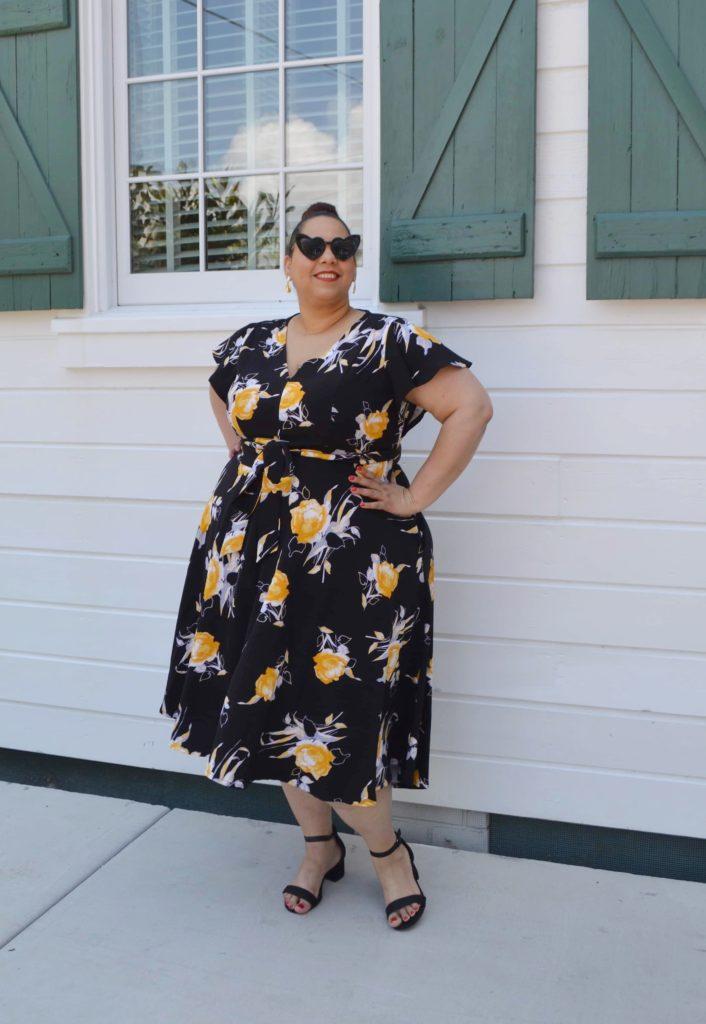 plus size tropical print dress