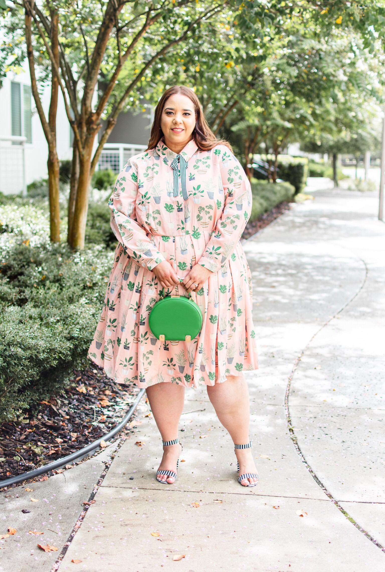 3453100af66b Look #20 of 2018: Long Sleeve Plus Size Cactus Print Fit & Flare ...