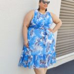 Look #21 Of 2019: Blue Palm Print Plus Size Chiffon Midi Dress