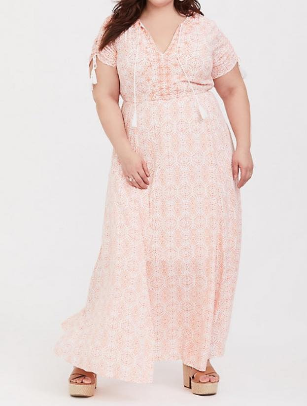 plus size coral maxi dress