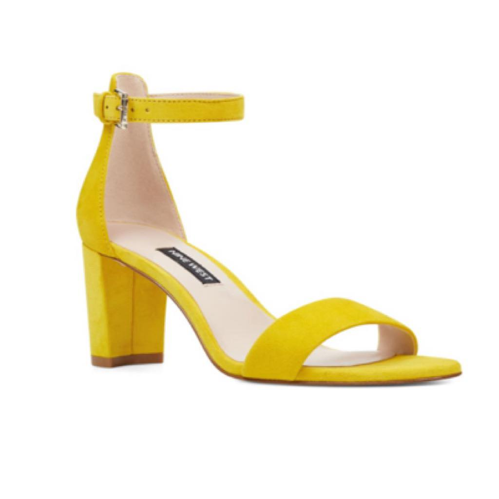 yellow nine west sandals