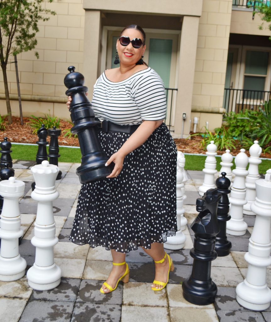 plus size black and white polka dot midi dress